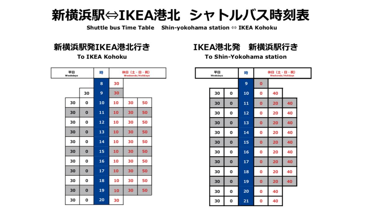 IKEA港北シャトルバス時刻表